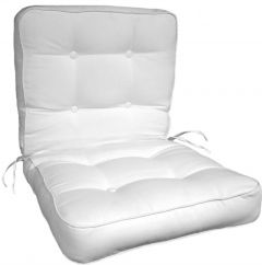 Boxed Button Tufted Chair Cushion with Same Fabric Welt and Plastic Buttons