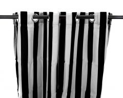 "54"" x 84"" Black and White Stripe Curtain Panel"