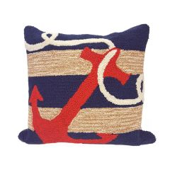 Liora Manne Frontporch Anchor Indoor/ Outdoor Pillow Navy