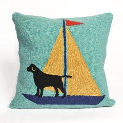 Liora Manne Frontporch Sailing Dog Indoor/Outdoor Pillow Yellow
