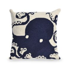 Liora Manne Frontporch Octopus Indoor/Outdoor Pillow Navy