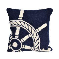 Liora Manne Frontporch Ship Wheel Indoor/Outdoor Pillow Navy