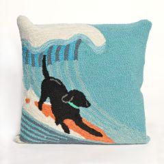 Liora Manne Frontporch Surfing Dog Indoor/Outdoor Pillow Ocean