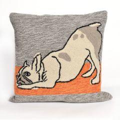 Liora Manne Frontporch Yoga Dogs Indoor/Outdoor Pillow Heather