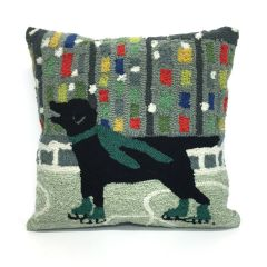 Liora Manne Frontporch Holiday Ice Dog Green Indoor/Outdoor Pillow