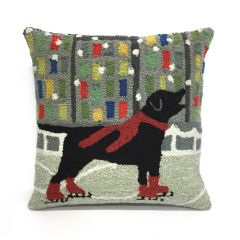 Liora Manne Frontporch Holiday Ice Dog Red Indoor/Outdoor Pillow