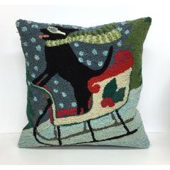 Liora Manne Frontporch Sledding Dog Indoor/Outdoor Pillow Multi