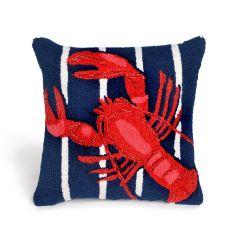 Liora Manne Frontporch Lobster On Stripes Navy Indoor/Outdoor Pillow