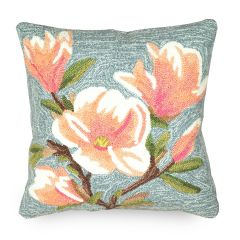 Liora Manne Frontporch Magnolia Indoor/Outdoor Pillow Chambray
