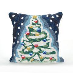 Liora Manne Frontporch Xmas Tree Indoor/Outdoor Pillow Midnight