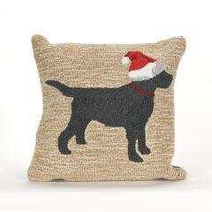 Liora Manne Frontporch Christmas Dog NeutralIndoor/Outdoor Pillow