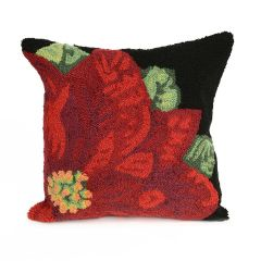 Liora Manne Frontporch Poinsettia Indoor/Outdoor Pillow Black