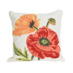 Liora Manne Frontporch Icelandic Poppies Neutral Indoor/Outdoor Pillow