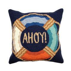 Liora Manne Frontporch Ahoy Indoor/Outdoor Pillow Navy