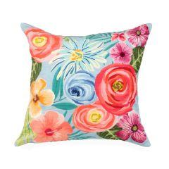 Liora Manne Illusions Flower Garden Indoor/Outdoor Pillow Aqua