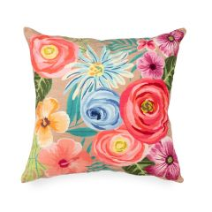 Liora Manne Illusions Flower Garden Indoor/Outdoor Pillow Taupe
