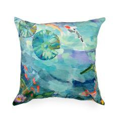 Liora Manne Illusions Peaceful Pond Indoor/Outdoor Pillow Seafoam