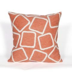 Liora Manne Visions I Squares Indoor/Outdoor Pillow Coral