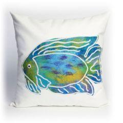 Liora Manne Visions II Batik Fish Indoor/Outdoor Pillow Aqua