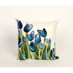 Liora Manne Visions II Allover Tulips Indoor/ Outdoor Pillow Blue
