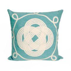 Liora Manne Visions II Ornamental Knot Indoor/ Outdoor Pillow Aqua