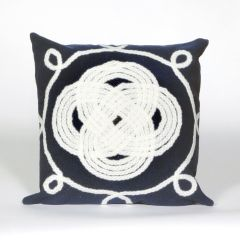 Liora Manne Visions II Ornamental Knot Indoor/ Outdoor Pillow Navy