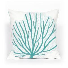 Liora Manne Visions III Coral Fan Indoor/ Outdoor Pillow Aqua