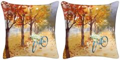 Set of Two - Bicycle Throw Pillows