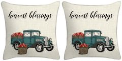 Set of Two - Harvest Truck Throw Pillows