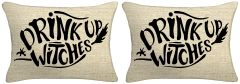Set of Two - Drink Up Witches Lumbar Throw Pillow