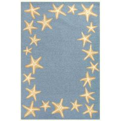 Liora Manne Capri Starfish Border Indoor/ Outdoor Rug Bluewater