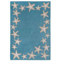 Liora Manne Capri Starfish Border Indoor/ Outdoor Rug Aqua