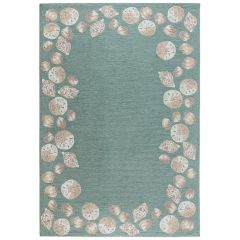 Liora Manne Capri Seashell Border Indoor/ Outdoor Rug Aqua