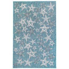 Liora Manne Carmel Starfish Indoor/ Outdoor Rug Aqua