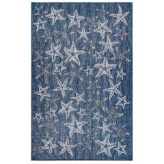 Liora Manne Carmel Starfish Indoor/ Outdoor Rug Navy