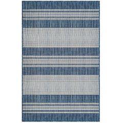 Liora Manne Carmel Stripe Indoor/ Outdoor Rug Navy