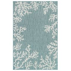 Liora Manne Carmel Coral Border Indoor/ Outdoor Rug Aqua