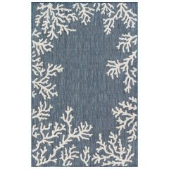 Liora Manne Carmel Coral Border Indoor/ Outdoor Rug Navy
