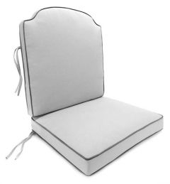 Athena Club 2 PC Chair Cushion with Contrasting Fabric Welt and Ties