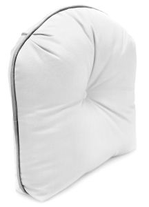 """Tucked Corner Curved Back Cushion 7"""" Thick with Contrasting Fabric Welt and Button"""