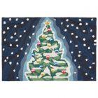 Liora Manne Frontporch Xmas Tree Indoor/Outdoor Rug Midnight